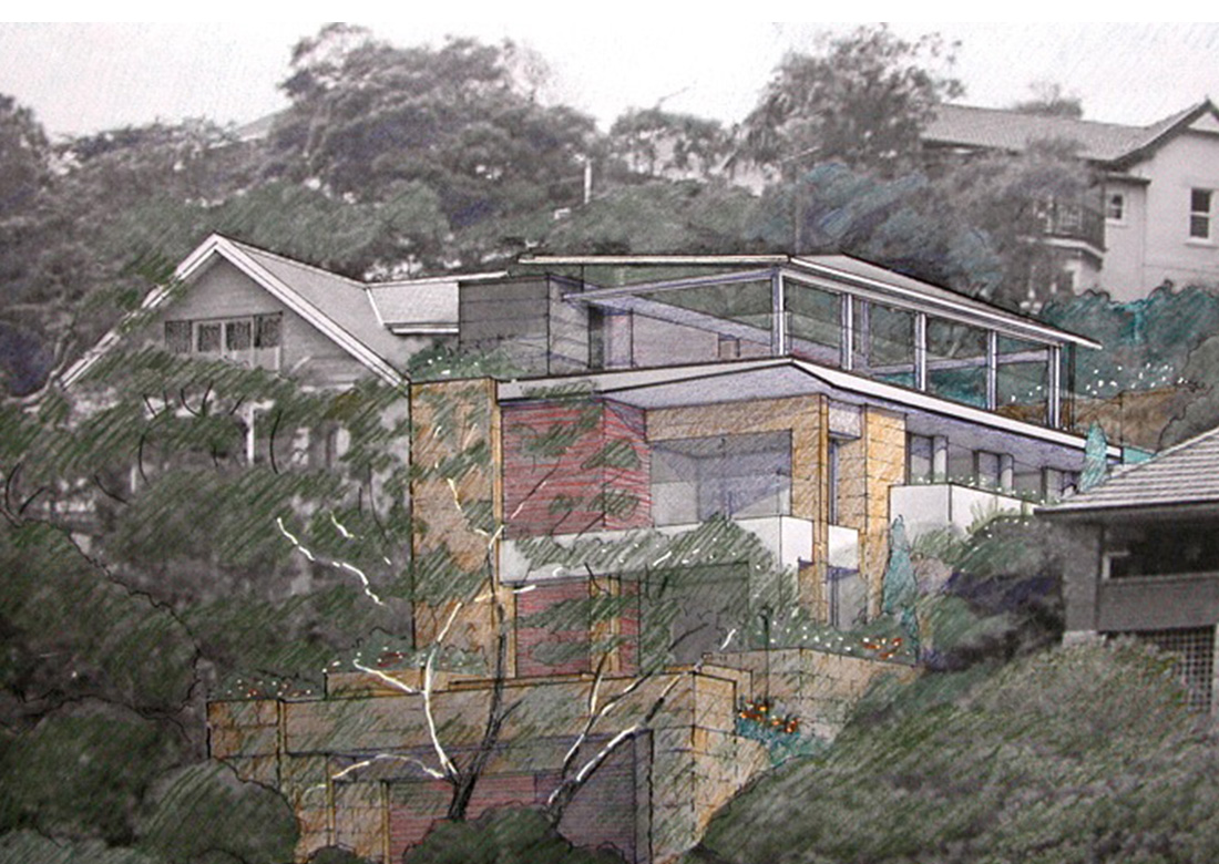 Mosman Modern Mansion Sketch